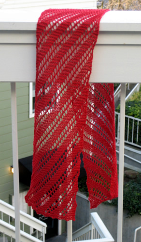 Knit One Purr Too Gallery Diagonal Lace Scarf
